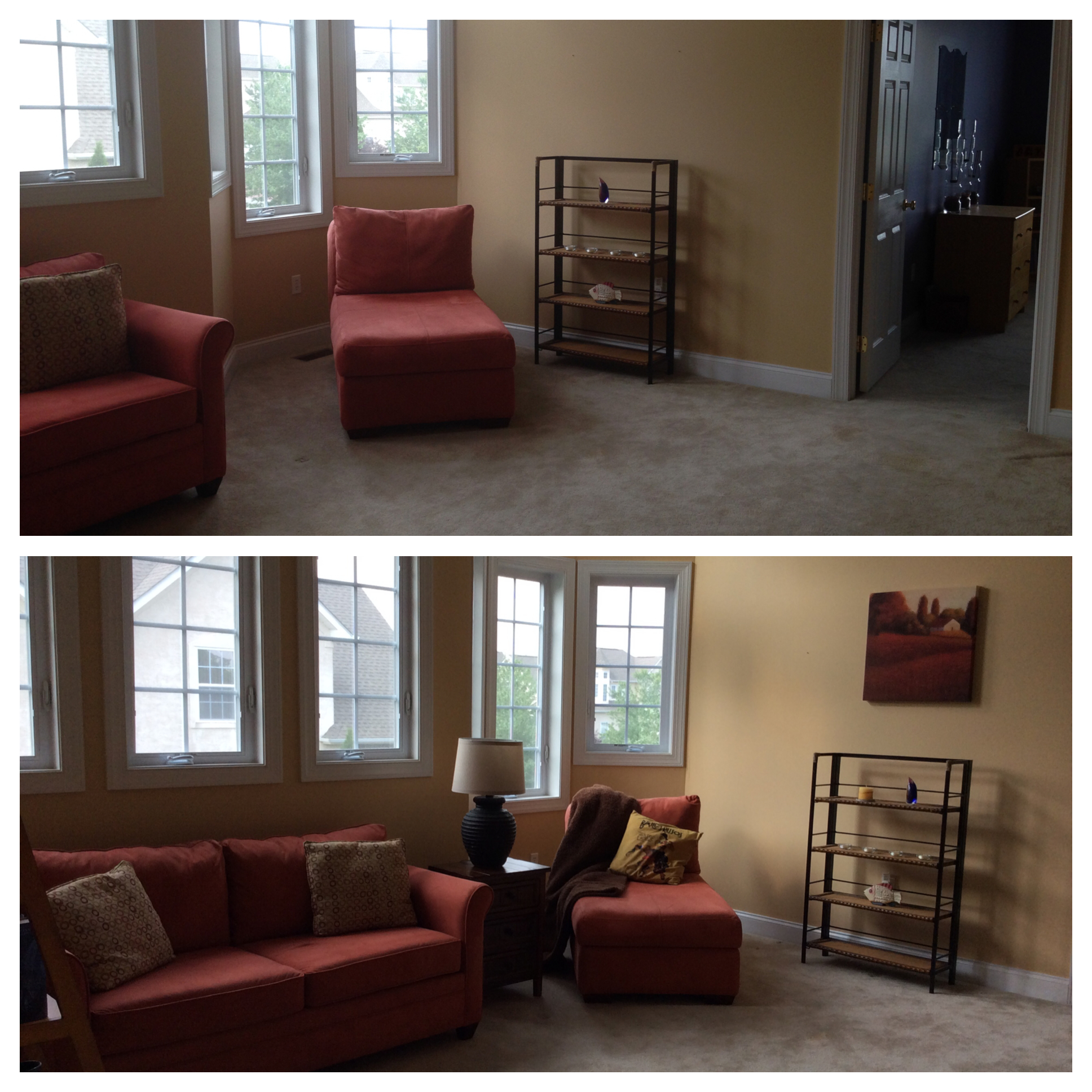 Loft sitting area-before & after